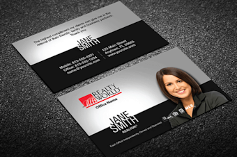 Realty world real estate business cards free shipping black silver realty world business card template colourmoves Images